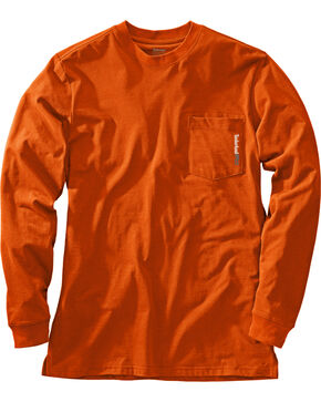 Timberland PRO Men's Base Plate Blended Long Sleeve T-Shirt, Dark Orange, hi-res