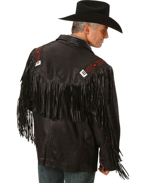 Kobler Mohawk Fringed Leather Jacket, Black, hi-res