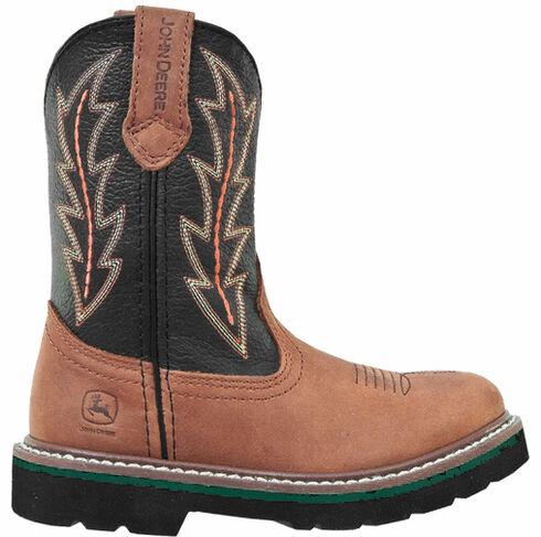 John Deere Boys' Johnny Popper Tuff Tred Western Boots - Round Toe, Tan, hi-res