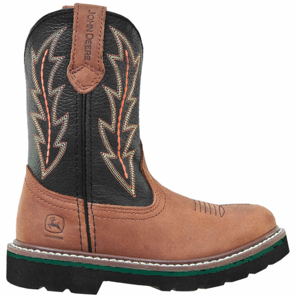 John Deere Boys' Johnny Popper Tuff Tred Western Boots - Round Toe, Tan, hi-res