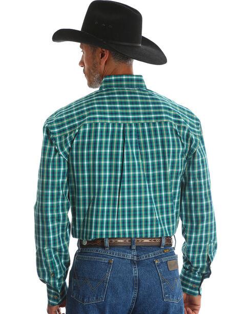 Wrangler Men's Green George Strait Button Down Plaid Shirt - Big & Tall , Green, hi-res
