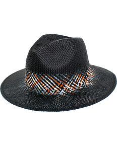 69e465e7160 Peter Grimm Womens Black Danae Straw Hat