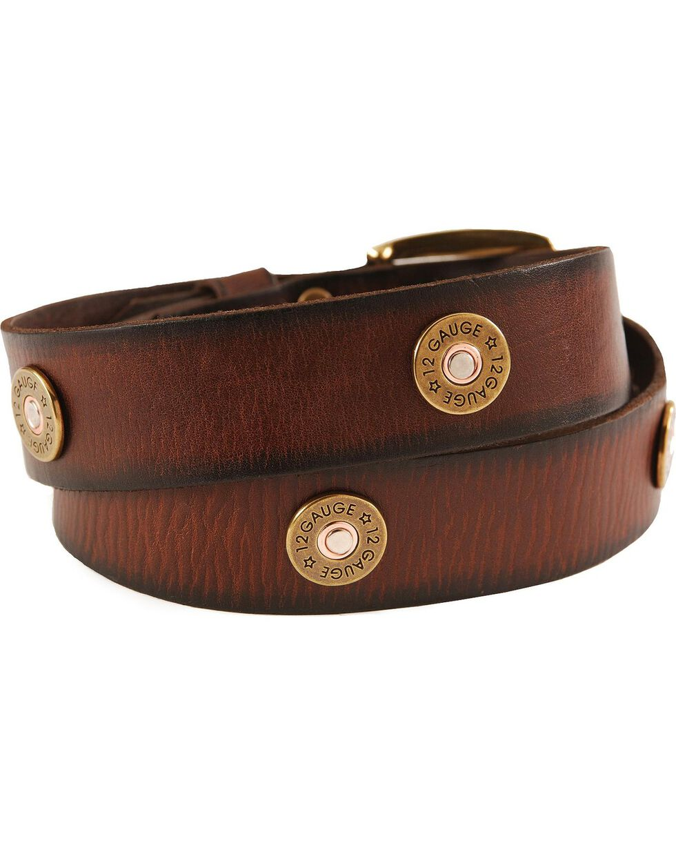 Nocona Gun Shell Cap Leather Belt - Reg & Big, Brown, hi-res