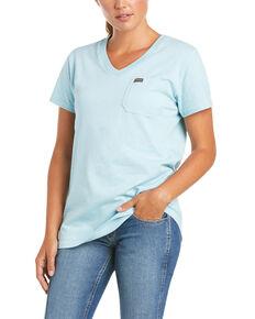 Ariat Women's Rebar Light Blue Cotton Strong Retro Aztec Flag Short Sleeve Work T-Shirt, Light Blue, hi-res