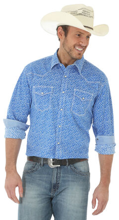 Wrangler 20X Men's Long Sleeve Floral Snap Button Shirt - Big and Tall, Blue, hi-res