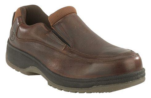 Florsheim Men's Lucky Steel Toe Slip-On Shoes, Brown, hi-res