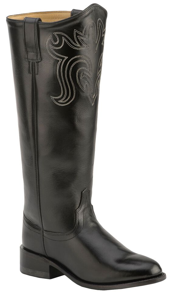 Old West Riding Boots - Round Toe, Black, hi-res