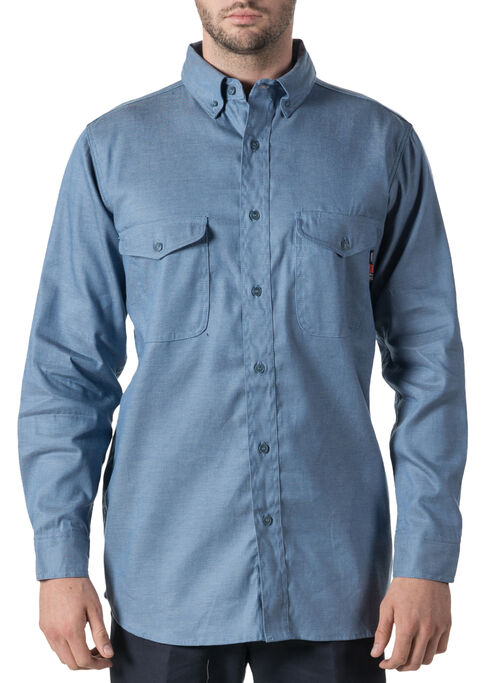 Walls Flame Resistant Button Down Chambray Work Shirt, Chambray, hi-res