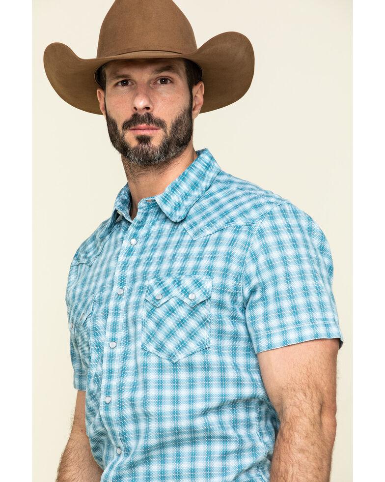 Rock & Roll Denim Men's Turquoise Small Plaid Short Sleeve Western Shirt , Teal, hi-res