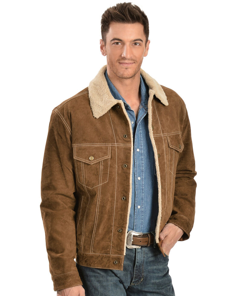 Scully Men's Sherpa Lined Boar Suede Jacket, Brown, hi-res