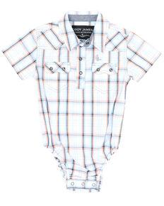 Cody James Infant Boys' White Plaid Snap Short Sleeve Western Onesie , White, hi-res