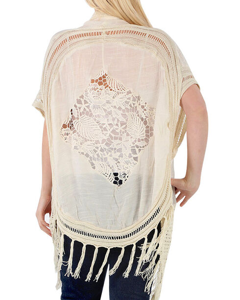 Forgotten Grace Women's Crochet Lace Kimono - Plus, Natural, hi-res