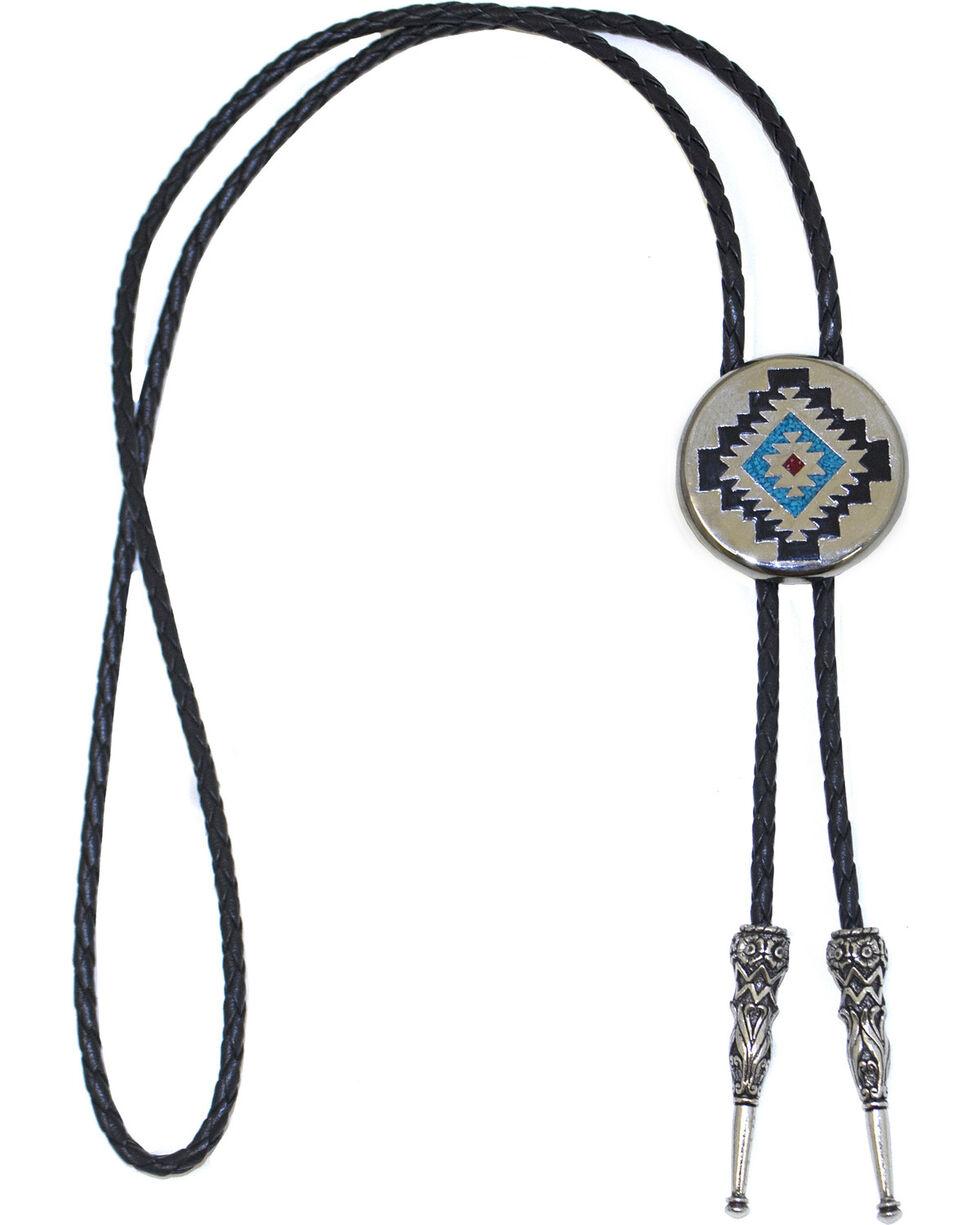 Western Express Men's Aztec Design Bolo Tie, Silver, hi-res