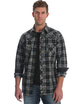 Rock 47 by Wrangler Men's Black Plaid Long Sleeve Western Shirt , Black, hi-res