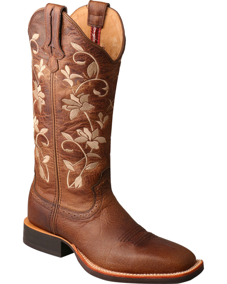 Twisted X Women's Brown Floral Ruff Stock Cowgirl Boots - Square Toe, Brown, hi-res