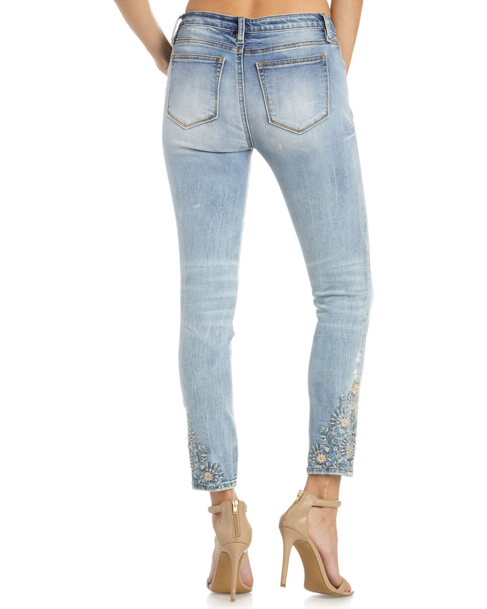 Miss Me Women's Embroidered Ankle Skinny Jeans, Indigo, hi-res