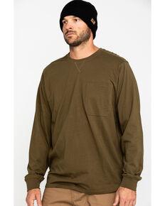 Hawx Men's Olive Long Sleeve Work Pocket T-Shirt - Tall , Olive, hi-res