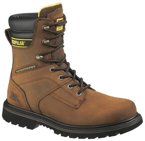 "Caterpillar 8"" Salvo Waterproof & Insulated Lace-Up Work Boots - Steel Toe, Dark Brown, hi-res"