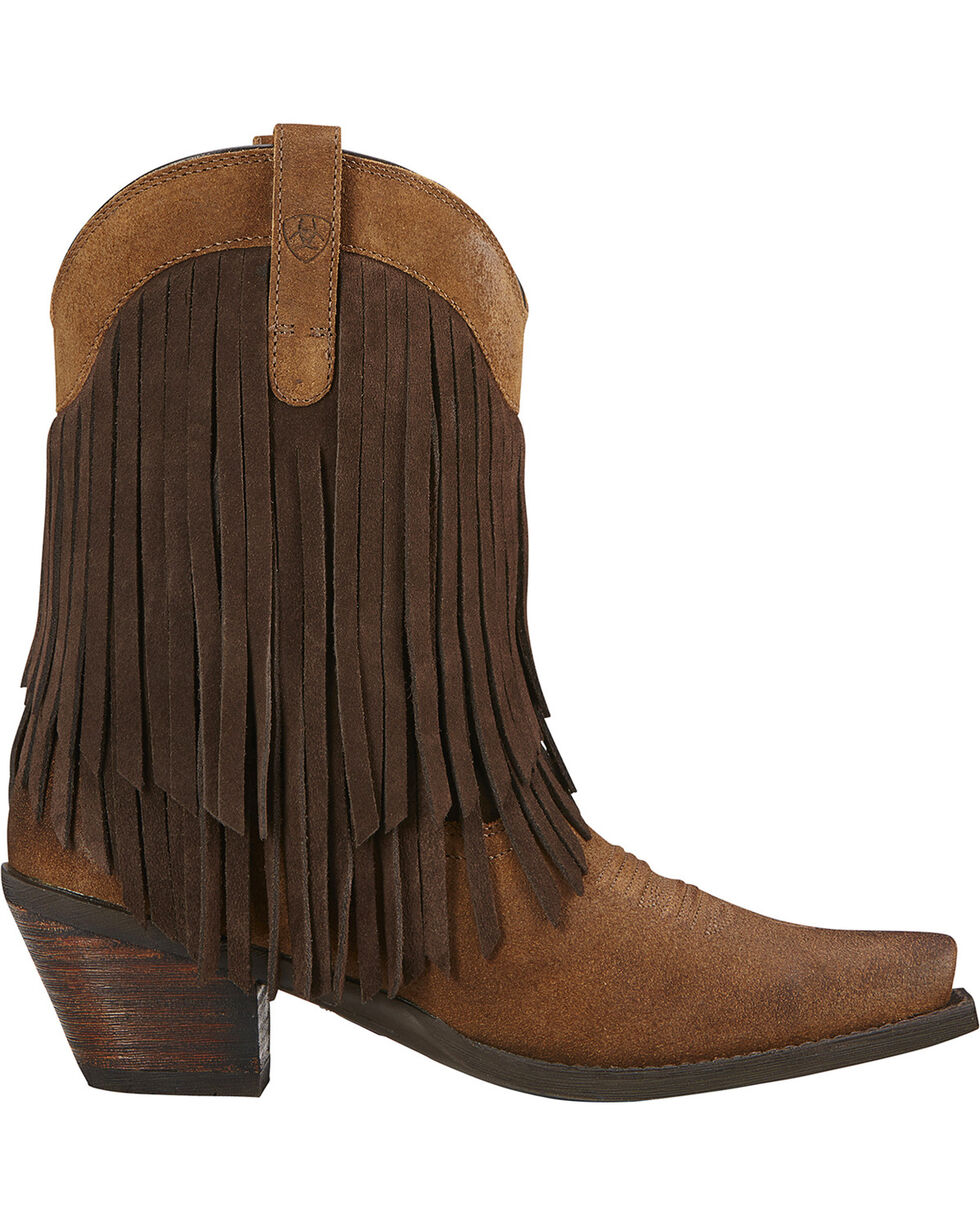 Ariat Gold Rush Fringe Cowgirl Boots - Snip Toe, Mocha, hi-res