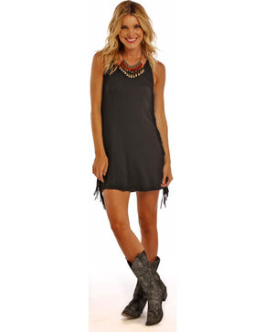 Panhandle Slim Women's Black Fringe Seam Dress, Black, hi-res