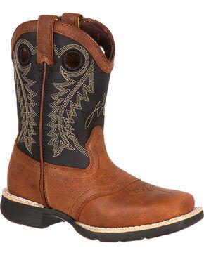 Durango Boys' Saddle Western Boots - Square Toe, Brown, hi-res