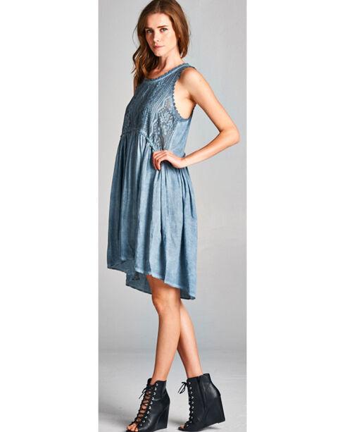 Hyku Women's Blue Hi Lo Sleeveless Lace Dress, Blue, hi-res