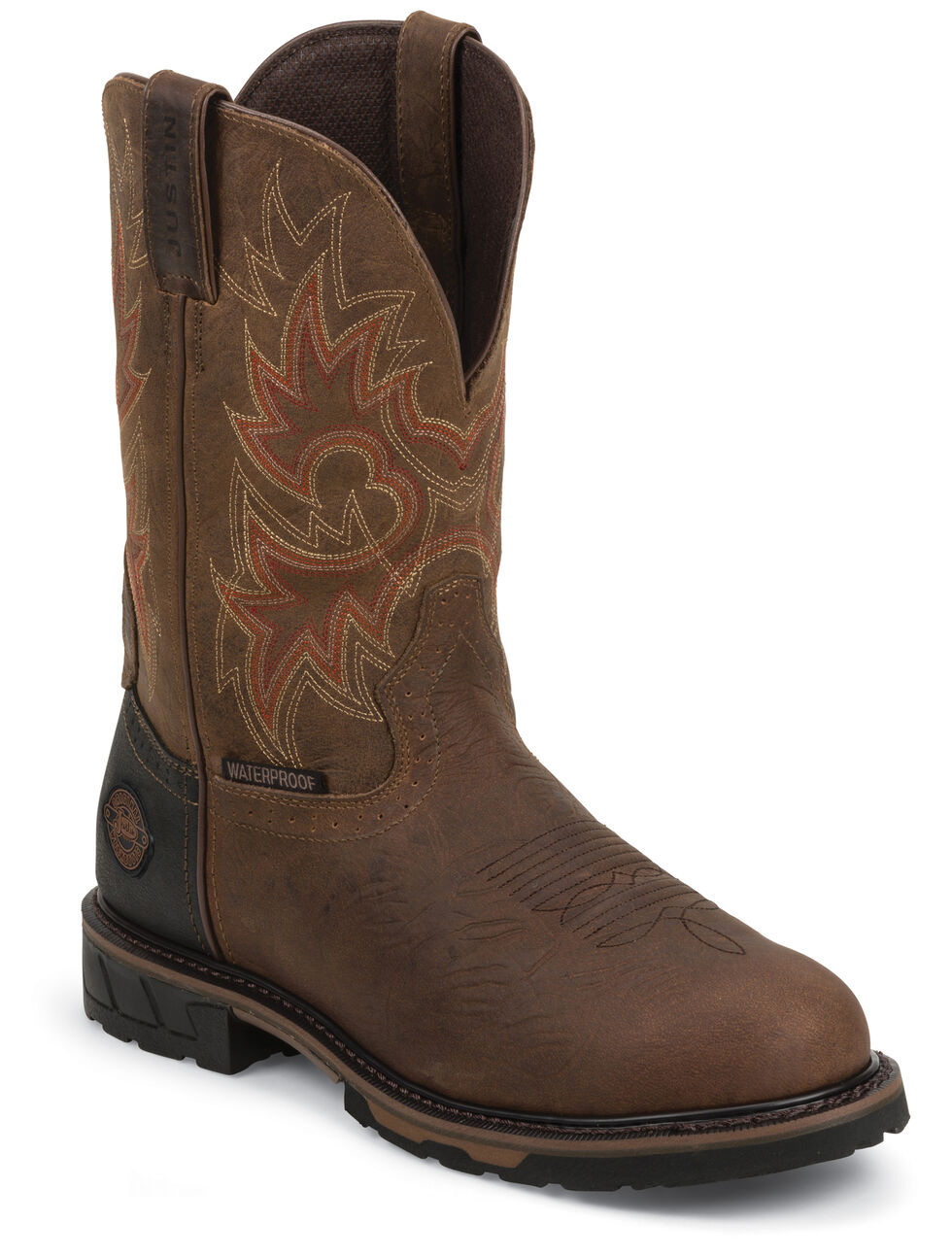 Justin Men's Hybred Rustic Barnwood Waterproof Work Boots - Soft Toe, Barnwood, hi-res