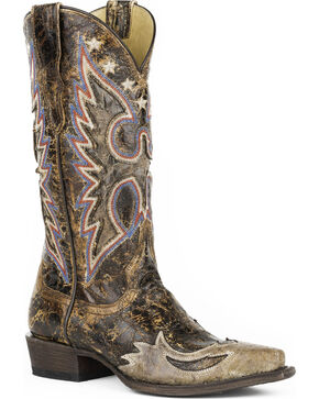 Stetson Women's Eagle Reagan Western Boots - Snip Toe , Brown, hi-res