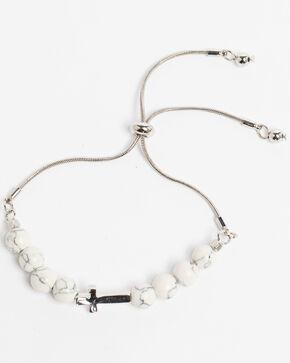 Shyanne Women's Bella White Turquoise Beaded Cross Slider Bracelet, Turquoise, hi-res
