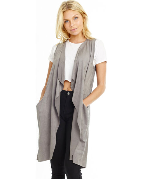Mary & Mabel Women's Sleeveless Faux Suede Vest, Charcoal, hi-res