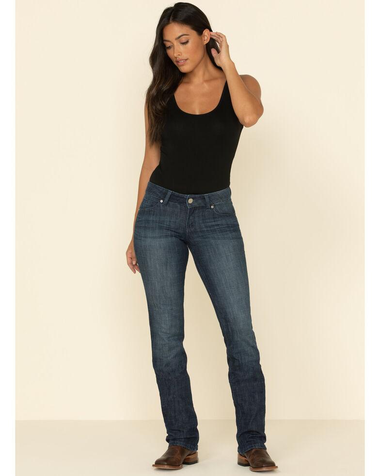 Wrangler Women's Dark Wash Straight Leg Jeans, Dark Blue, hi-res