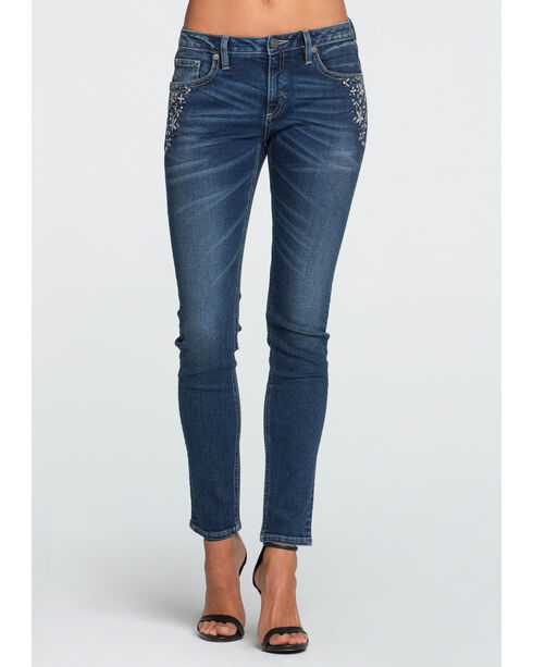 Miss Me Women's Indigo All That Sparkles Mid-Rise Jeans - Skinny , Indigo, hi-res
