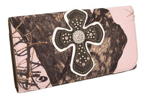 Blazin Roxx Mossy Oak with Cross Overlay Wallet, Pink, hi-res