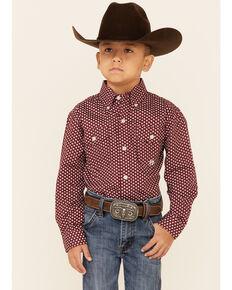 Roper Boys' Red Star Foulard Geo Print Long Sleeve Button-Down Western Shirt , Red, hi-res