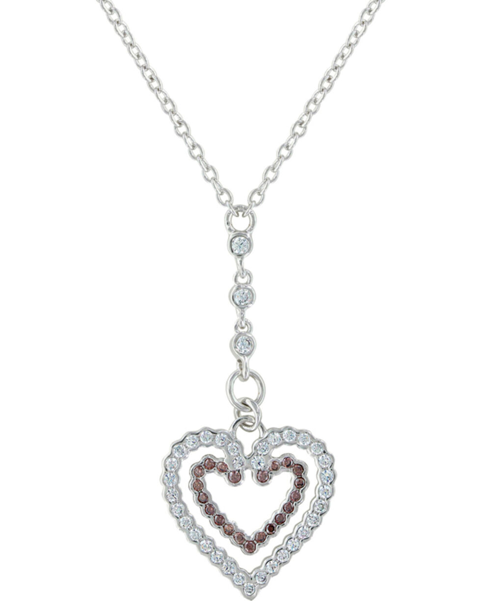 Montana Silversmiths Women's Filling Up On Love Heart Necklace , Silver, hi-res