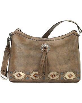 American West Brown Native Sun Zip-Top Shoulder Bag, Brown, hi-res