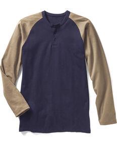 Rasco Men's Navy FR Baseball Henley T-Shirt , Navy, hi-res