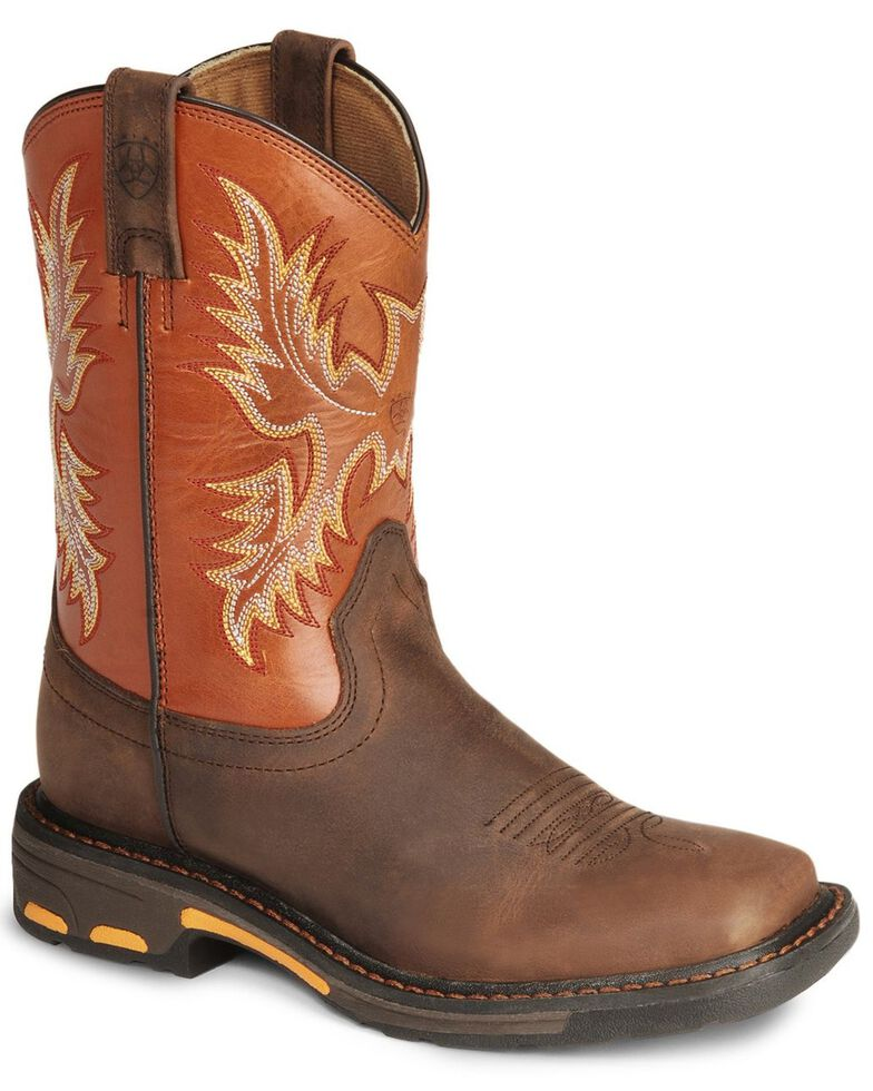Ariat Youth Boys' Earth Workhog Cowboy Boots, Earth, hi-res