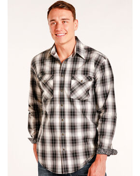 Rough Stock by Panhandle Men's Prospect Ombre Plaid Snap Shirt - Big & Tall, Multi, hi-res