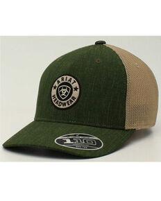 Ariat Men's Olive & Tan Round Logo Flex-Fit Mesh-Back Ball Cap , Olive, hi-res