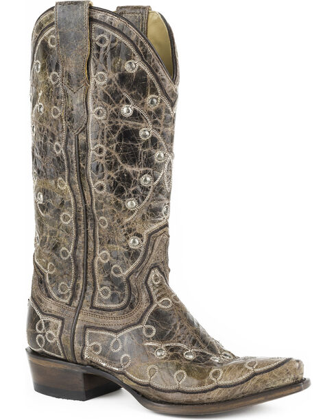 Stetson Women's Pita Embroidery Western Boots - Snip Toe, Brown, hi-res