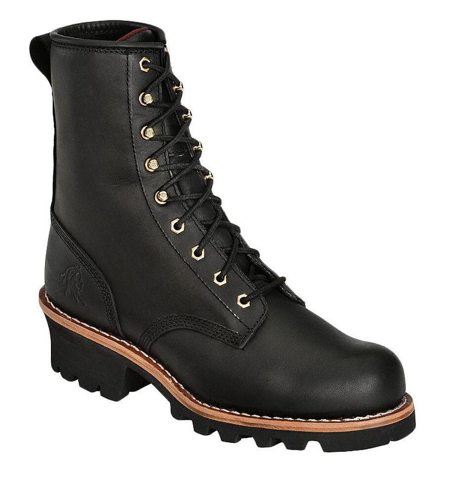 "Chippewa 8"" Logger Boots - Steel Toe, Black, hi-res"