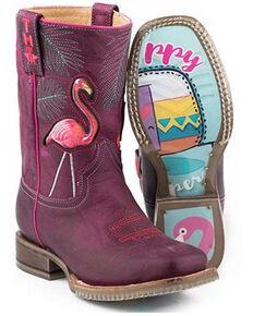 Tin Haul Girls' Flamingo Western Boots - Square Toe, Purple, hi-res