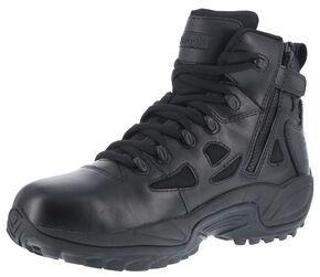"Reebok Men's Stealth 6"" Lace-Up Waterproof Side Zip Work Boots - Round Toe, Black, hi-res"