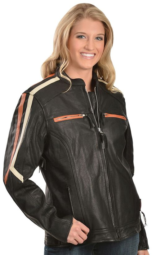 Interstate Leather Ladies Orange and Cream Striped Jacket, Black, hi-res