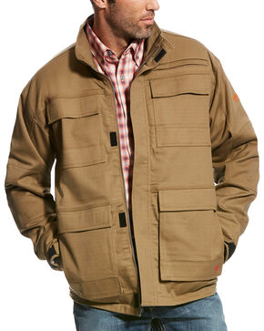 Ariat Men's Beige FR Canvas Stretch Jacket , Beige/khaki, hi-res
