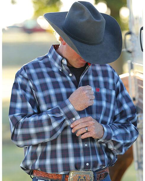 Cinch Men's Navy Long Sleeve Classic Fit Plaid Button Shirt, Navy, hi-res