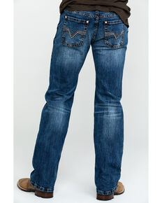 Rock & Roll Cowboy Men's Dark Pistol Reflex Stretch Straight Jeans , Blue, hi-res