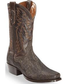 Dan Post Men's Chocolate Shark Cowboy Boots - Square Toe , Chocolate, hi-res