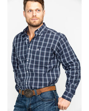 Ariat Men's Daytona Plaid Long Sleeve Western Shirt - Big & Tall , Navy, hi-res